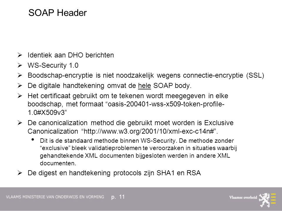 p. 11  Identiek aan DHO berichten  WS-Security 1.0  Boodschap-encryptie is niet noodzakelijk wegens connectie-encryptie (SSL)  De digitale handtek