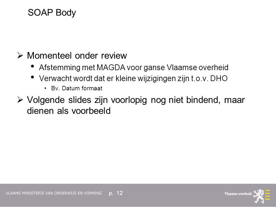 p. 12  Momenteel onder review Afstemming met MAGDA voor ganse Vlaamse overheid Verwacht wordt dat er kleine wijzigingen zijn t.o.v. DHO Bv. Datum for