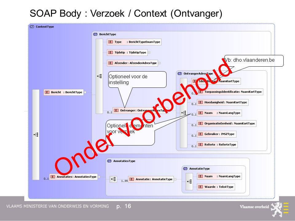 p. 16 Optionele elementen voor verzoek Vb: dho.vlaanderen.be Optioneel voor de instelling Onder voorbehoud SOAP Body : Verzoek / Context (Ontvanger)