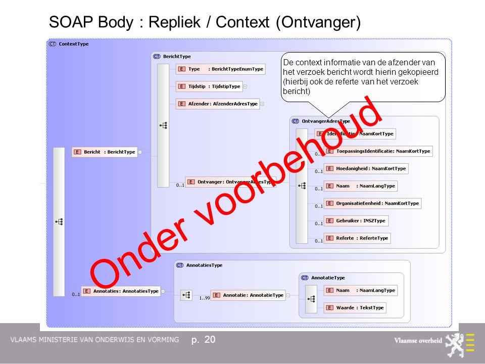 p. 20 De context informatie van de afzender van het verzoek bericht wordt hierin gekopieerd (hierbij ook de referte van het verzoek bericht) Onder voo