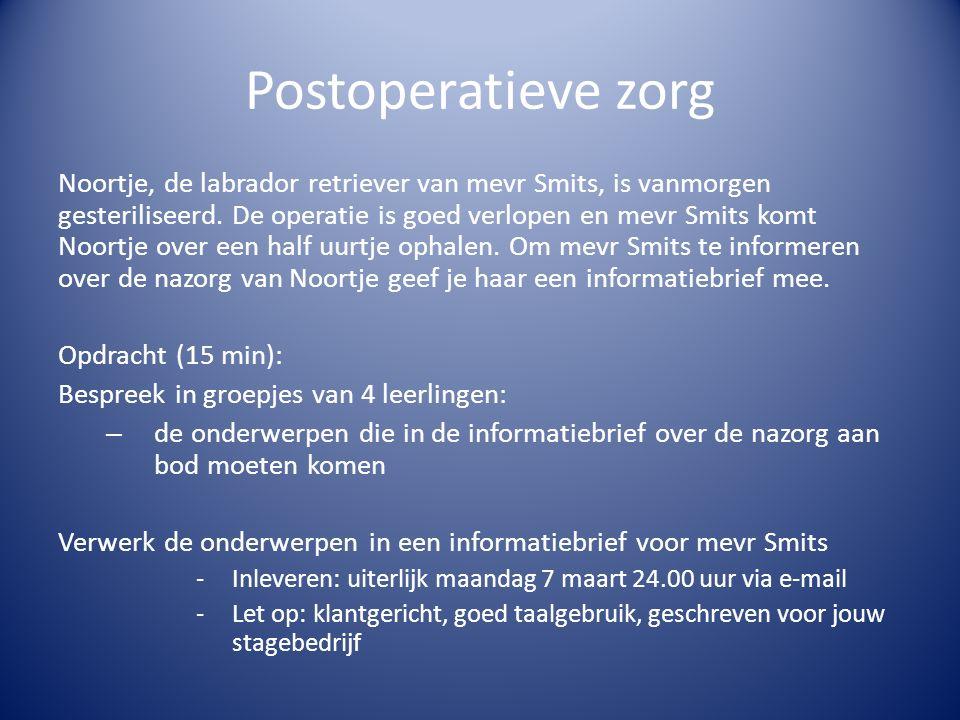 Postoperatieve zorg Noortje, de labrador retriever van mevr Smits, is vanmorgen gesteriliseerd. De operatie is goed verlopen en mevr Smits komt Noortj