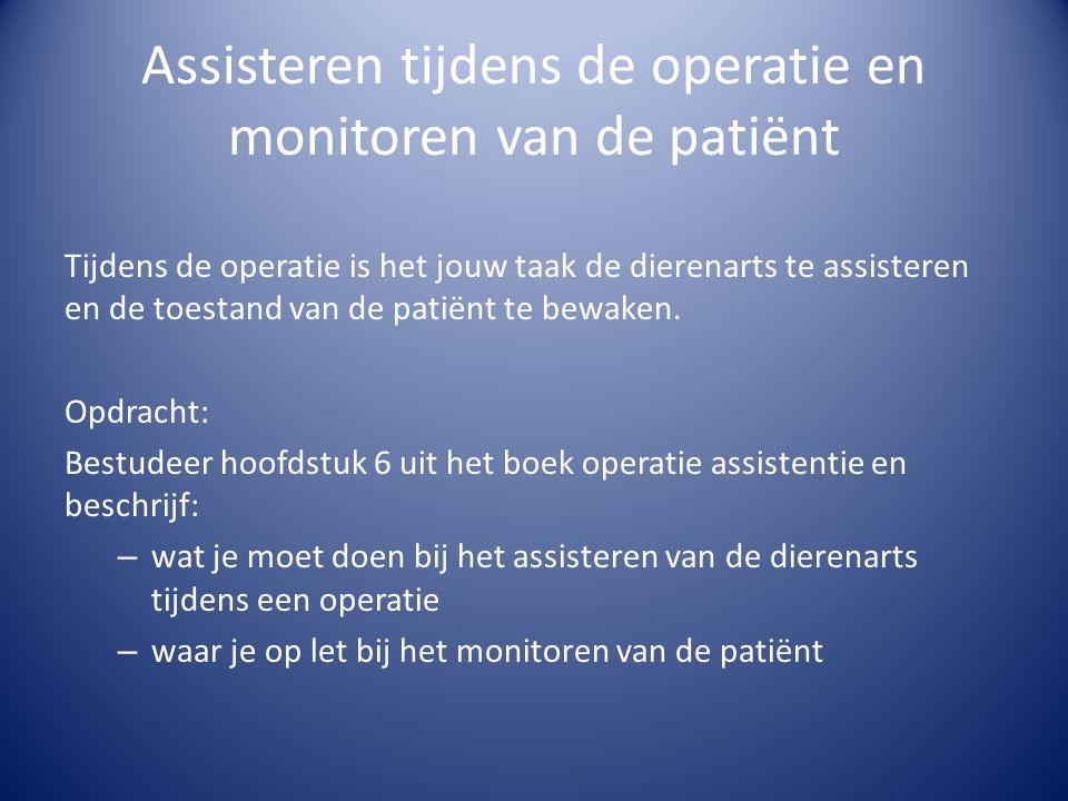 Assisteren tijdens de operatie en monitoren van de patiënt Tijdens de operatie is het jouw taak de dierenarts te assisteren en de toestand van de patiënt te bewaken.