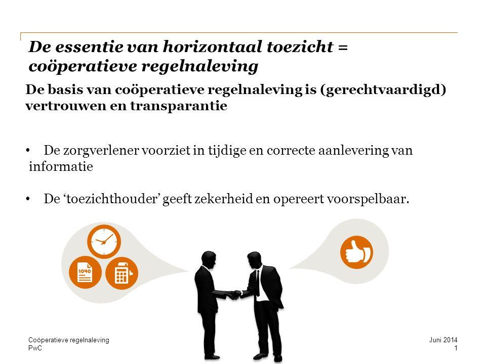 PwC De essentie van horizontaal toezicht = coöperatieve regelnaleving De basis van coöperatieve regelnaleving is (gerechtvaardigd) vertrouwen en transparantie De zorgverlener voorziet in tijdige en correcte aanlevering van informatie De 'toezichthouder' geeft zekerheid en opereert voorspelbaar.