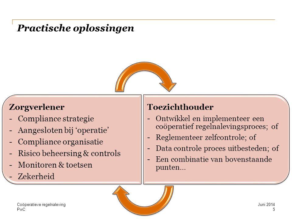 PwC Zorgverlener - Compliance strategie - Aangesloten bij 'operatie' - Compliance organisatie - Risico beheersing & controls - Monitoren & toetsen - Zekerheid Toezichthouder Ontwikkel en implementeer een coöperatief regelnalevingsproces; of Reglementeer zelfcontrole; of Data controle proces uitbesteden; of Een combinatie van bovenstaande punten… Practische oplossingen Juni 2014 5 Coöperatieve regelnaleving