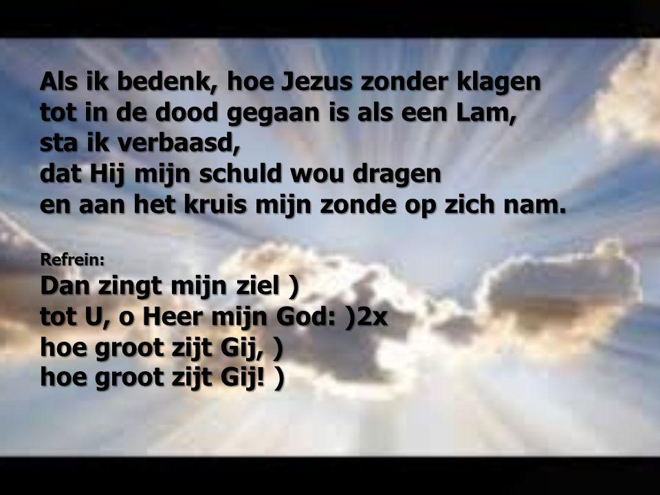 Als ik bedenk, hoe Jezus zonder klagen tot in de dood gegaan is als een Lam, sta ik verbaasd, dat Hij mijn schuld wou dragen en aan het kruis mijn zon