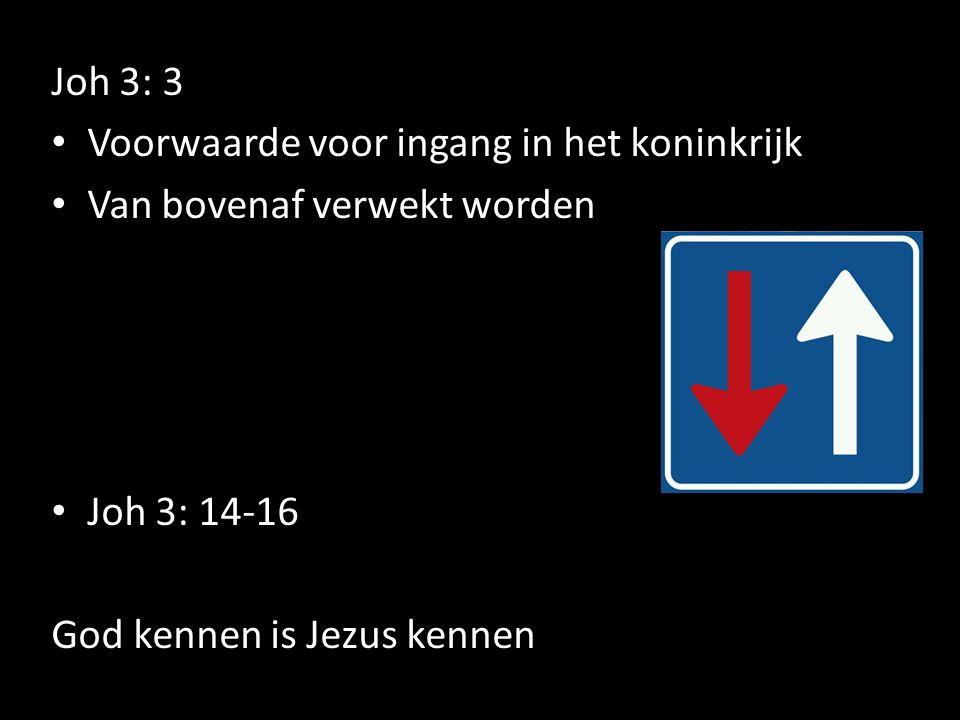 Joh 3: 3 Voorwaarde voor ingang in het koninkrijk Van bovenaf verwekt worden Joh 3: 14-16 God kennen is Jezus kennen