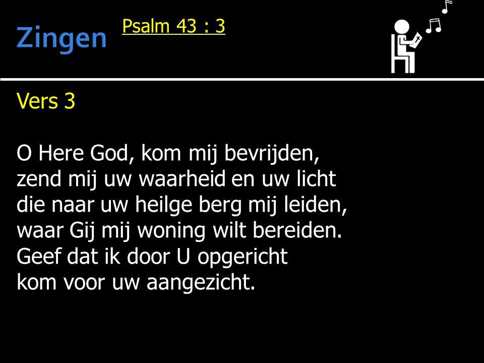 Vers 3 O Here God, kom mij bevrijden, zend mij uw waarheid en uw licht die naar uw heilge berg mij leiden, waar Gij mij woning wilt bereiden. Geef dat
