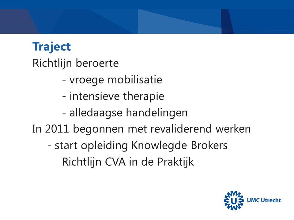 Traject Richtlijn beroerte - vroege mobilisatie - intensieve therapie - alledaagse handelingen In 2011 begonnen met revaliderend werken - start opleiding Knowlegde Brokers Richtlijn CVA in de Praktijk