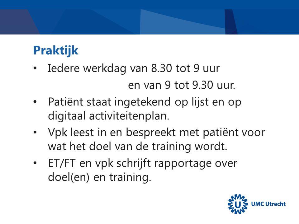 Praktijk Iedere werkdag van 8.30 tot 9 uur en van 9 tot 9.30 uur. Patiënt staat ingetekend op lijst en op digitaal activiteitenplan. Vpk leest in en b