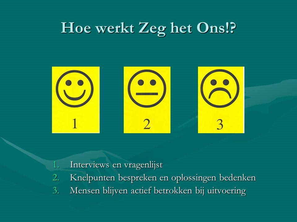 Hoe werkt Zeg het Ons!? 1.Interviews en vragenlijst 2.Knelpunten bespreken en oplossingen bedenken 3.Mensen blijven actief betrokken bij uitvoering