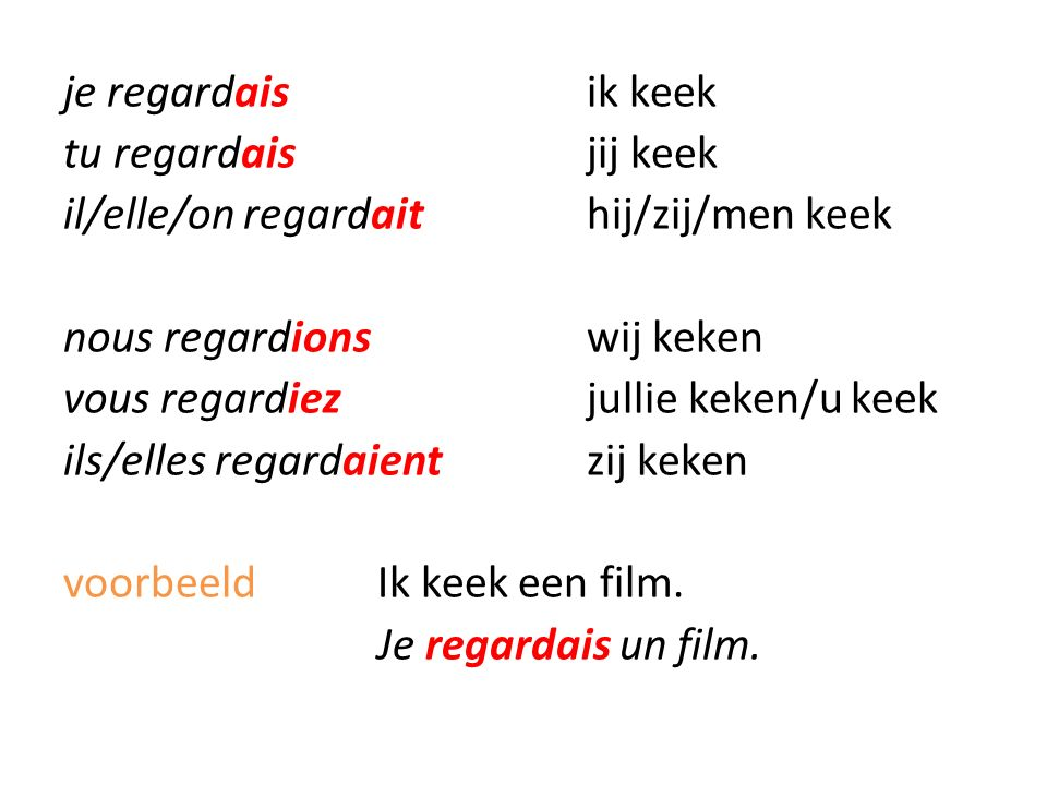 je regardaisik keek tu regardaisjij keek il/elle/on regardaithij/zij/men keek nous regardionswij keken vous regardiezjullie keken/u keek ils/elles regardaientzij keken voorbeeldIk keek een film.