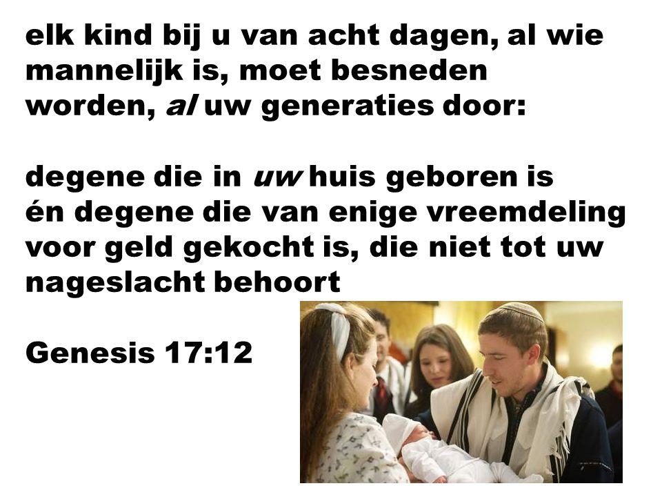 elk kind bij u van acht dagen, al wie mannelijk is, moet besneden worden, al uw generaties door: degene die in uw huis geboren is én degene die van en