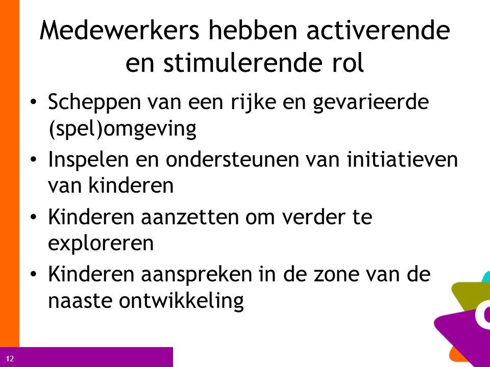 12 Medewerkers hebben activerende en stimulerende rol Scheppen van een rijke en gevarieerde (spel)omgeving Inspelen en ondersteunen van initiatieven v