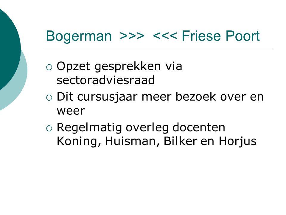 Bogerman >>> <<< Friese Poort  Opzet gesprekken via sectoradviesraad  Dit cursusjaar meer bezoek over en weer  Regelmatig overleg docenten Koning, Huisman, Bilker en Horjus