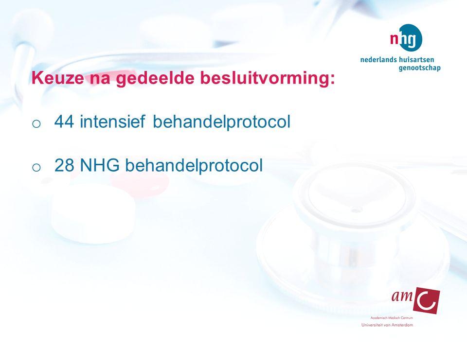 Keuze na gedeelde besluitvorming: o 44 intensief behandelprotocol o 28 NHG behandelprotocol