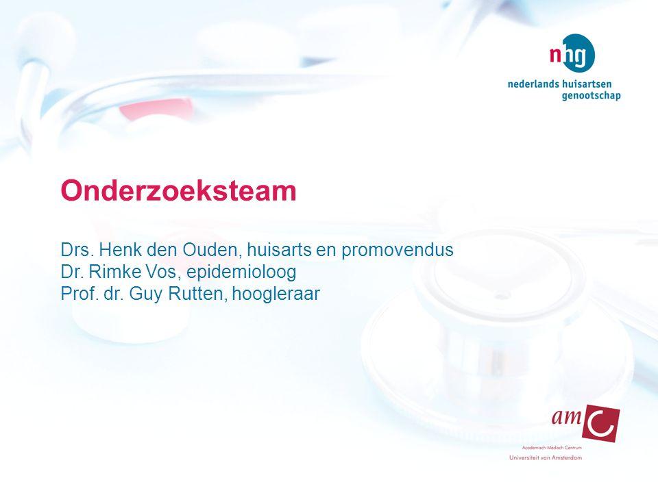 Onderzoeksteam Drs. Henk den Ouden, huisarts en promovendus Dr. Rimke Vos, epidemioloog Prof. dr. Guy Rutten, hoogleraar
