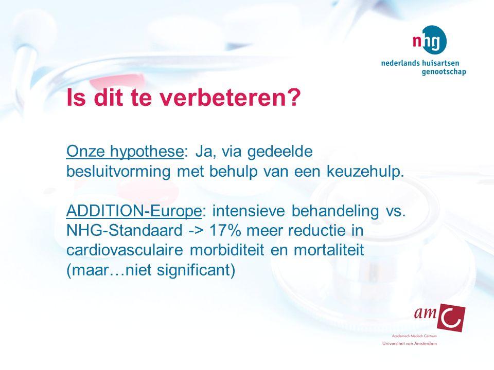 Is dit te verbeteren? Onze hypothese: Ja, via gedeelde besluitvorming met behulp van een keuzehulp. ADDITION-Europe: intensieve behandeling vs. NHG-St