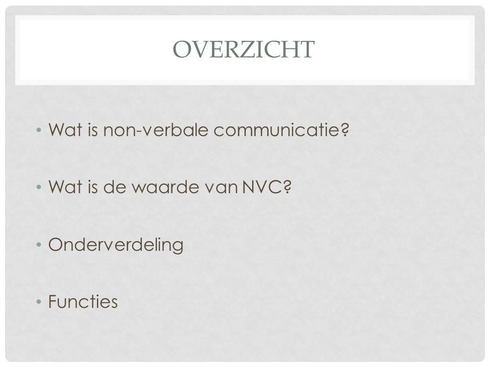 OVERZICHT Wat is non-verbale communicatie Wat is de waarde van NVC Onderverdeling Functies
