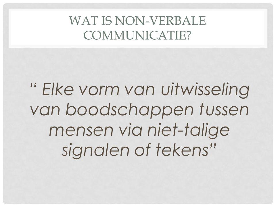 WAT IS NON-VERBALE COMMUNICATIE.