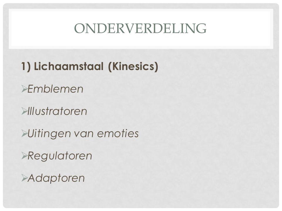 ONDERVERDELING 1) Lichaamstaal (Kinesics)  Emblemen  Illustratoren  Uitingen van emoties  Regulatoren  Adaptoren