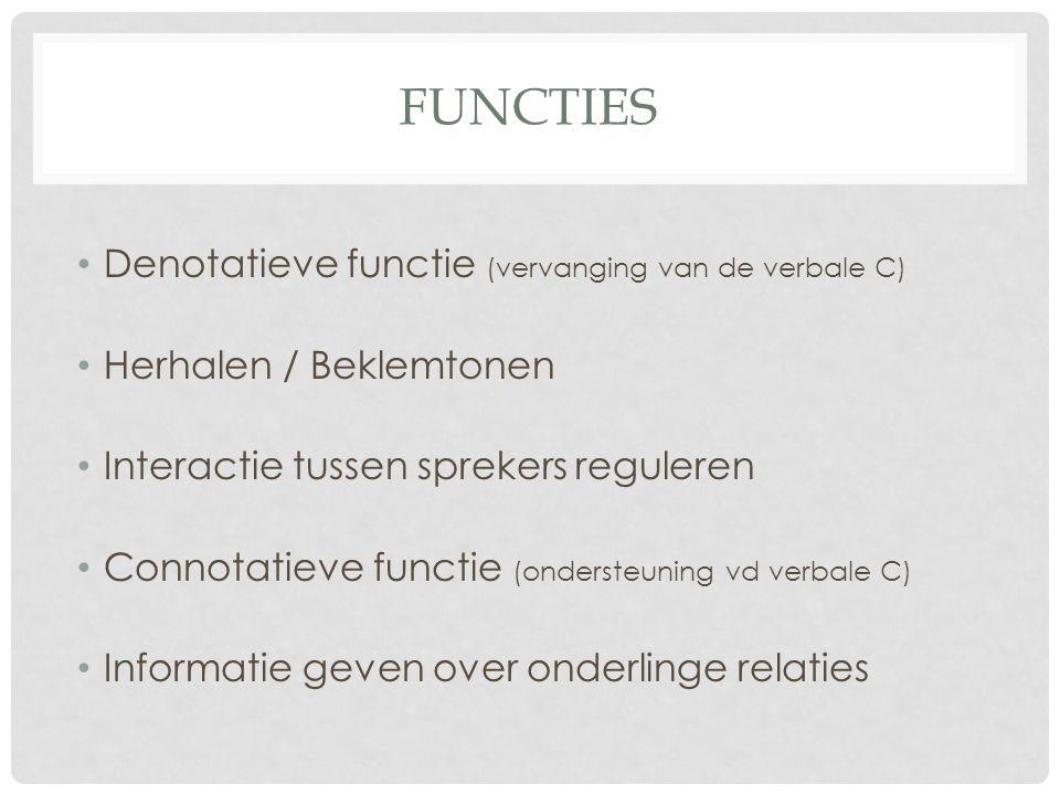 FUNCTIES Denotatieve functie (vervanging van de verbale C) Herhalen / Beklemtonen Interactie tussen sprekers reguleren Connotatieve functie (ondersteuning vd verbale C) Informatie geven over onderlinge relaties