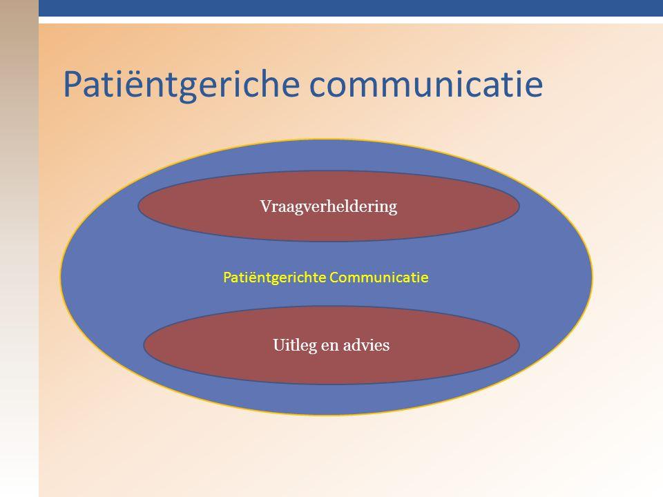 Patiëntgeriche communicatie Patiëntgerichte Communicatie Uitleg en advies Vraagverheldering