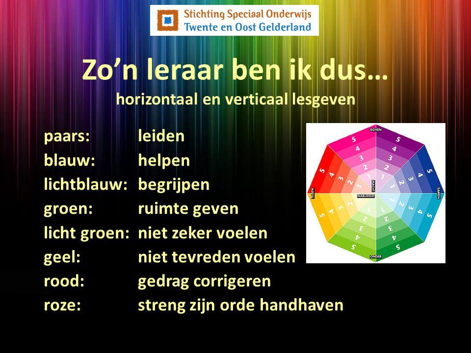 paars: leiden blauw:helpen lichtblauw: begrijpen groen:ruimte geven licht groen:niet zeker voelen geel:niet tevreden voelen rood:gedrag corrigeren roz