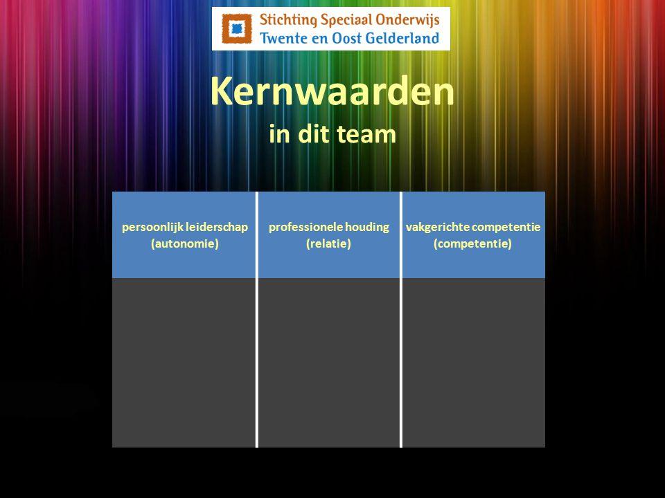 Kernwaarden in dit team persoonlijk leiderschap (autonomie) professionele houding (relatie) vakgerichte competentie (competentie)