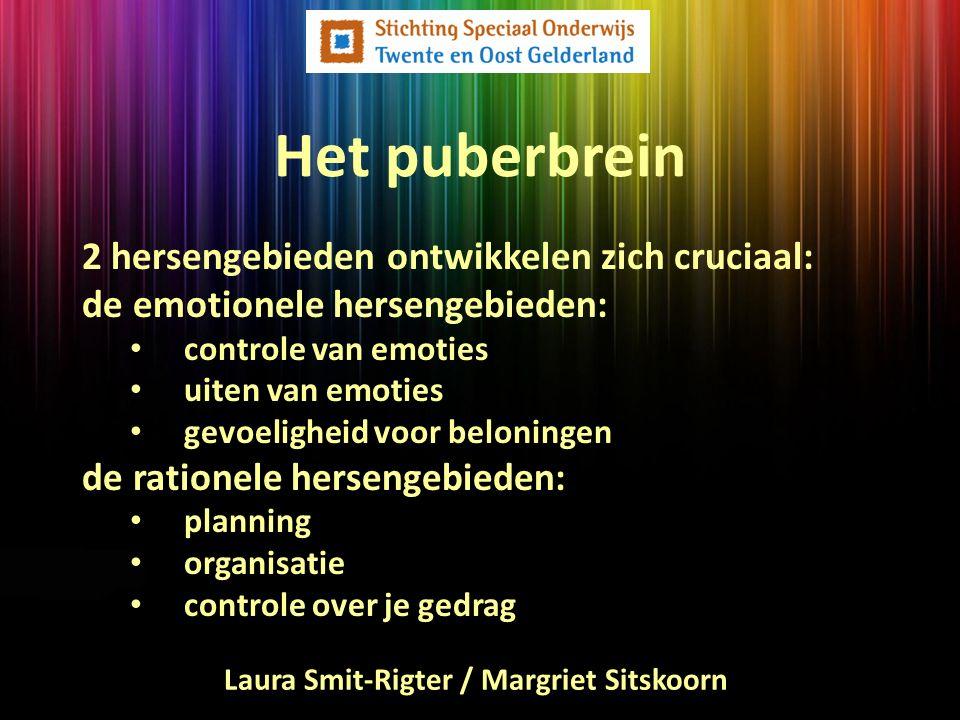 Het puberbrein de rationele hersengebieden tijdelijk niet sterk genoeg (executieve functies staan in de stijgers) emotionele hersengebieden de puber is hypergevoelig voor beloning (risicovol experimenteren) beide hersengebieden zijn goed uit balans