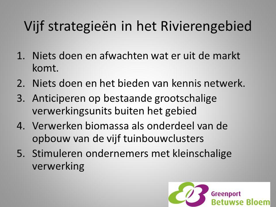 Vijf strategieën in het Rivierengebied 1.Niets doen en afwachten wat er uit de markt komt.
