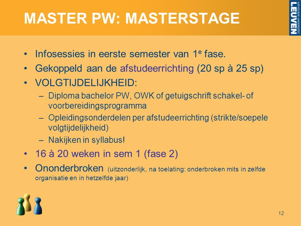 MASTER PW: MASTERSTAGE Infosessies in eerste semester van 1 e fase.