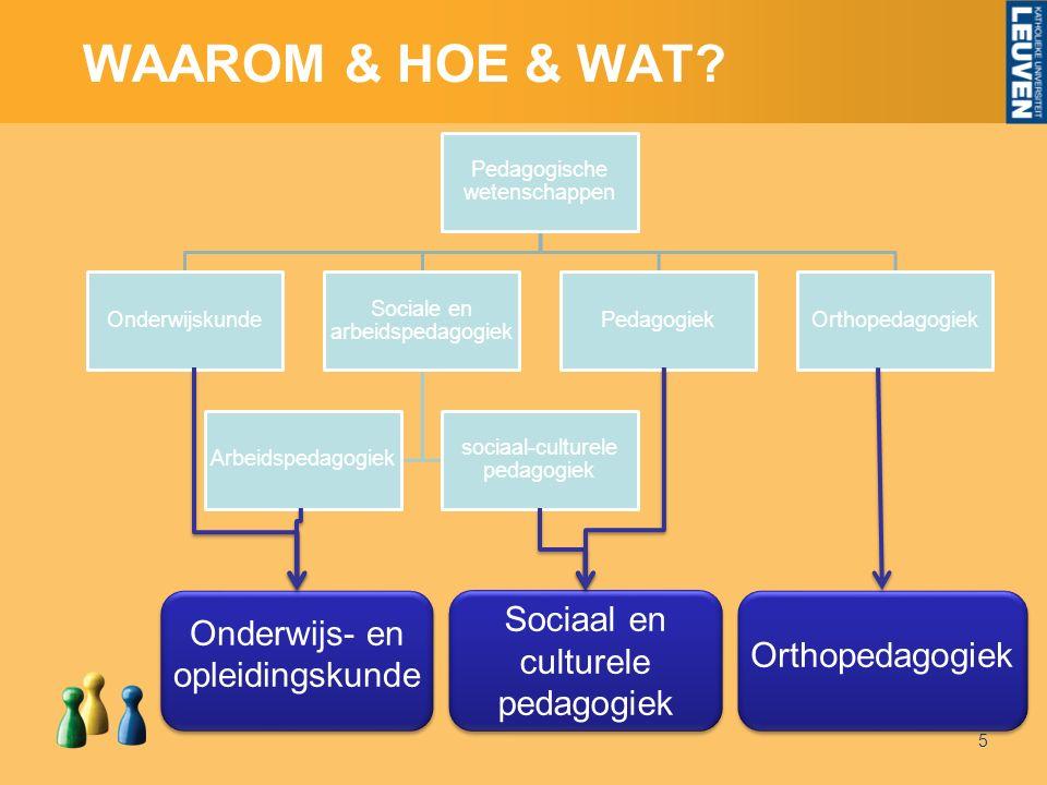 WAAROM & HOE & WAT 5 Onderwijs- en opleidingskunde Sociaal en culturele pedagogiek Orthopedagogiek