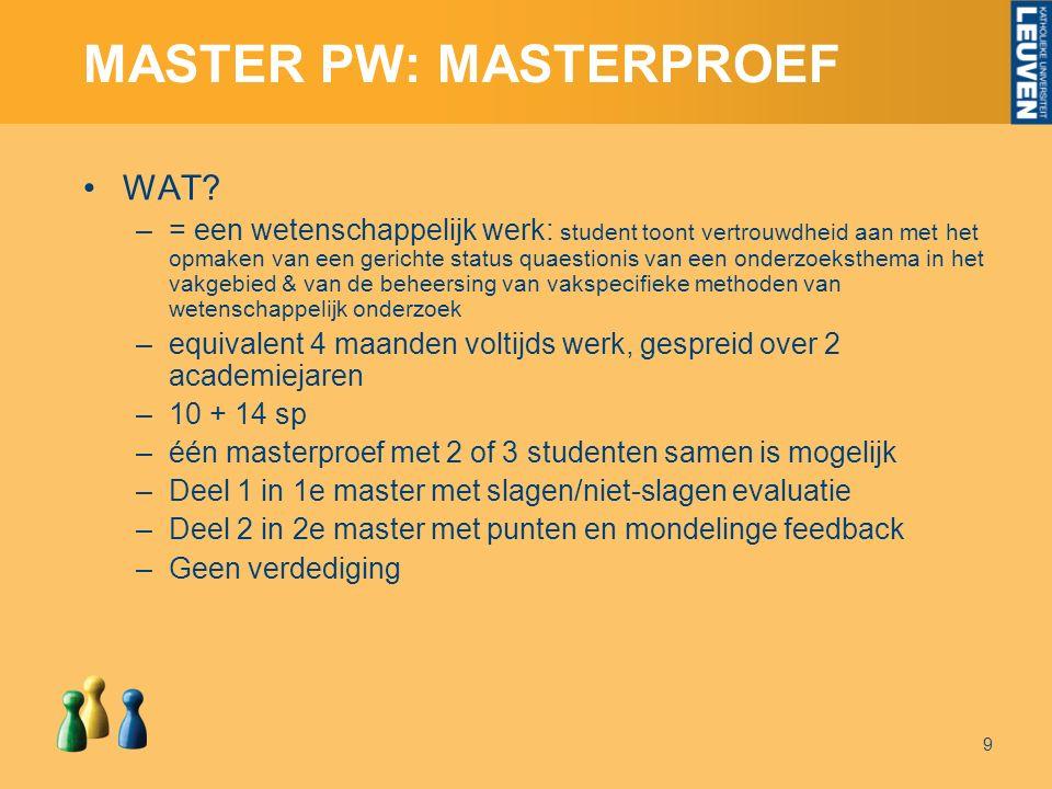 MASTER PW: MASTERPROEF WAT.