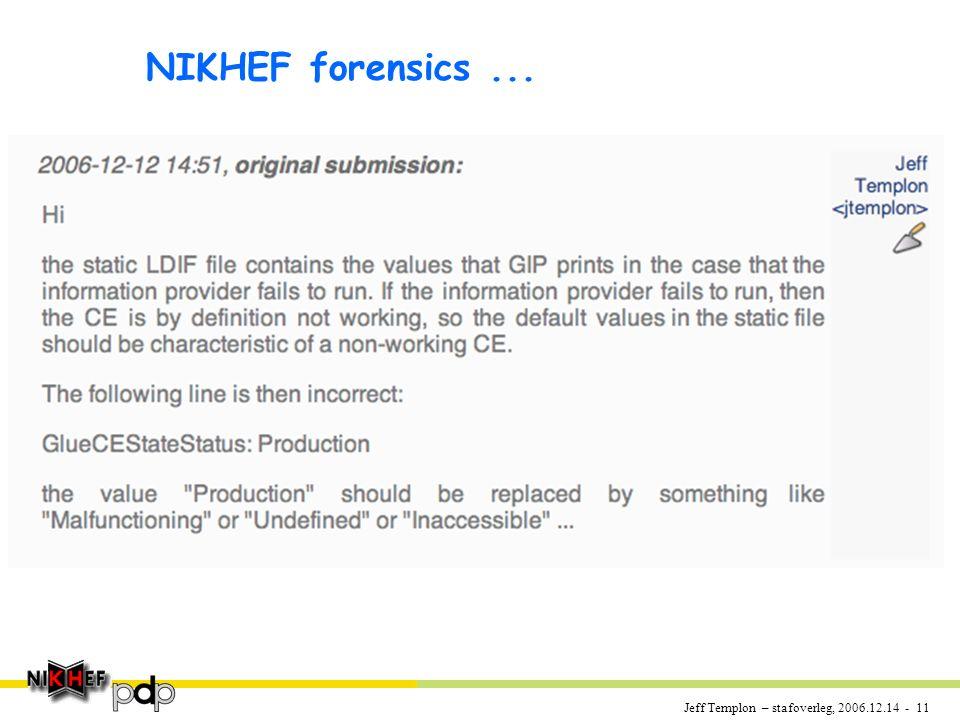 Jeff Templon – stafoverleg, 2006.12.14 - 11 NIKHEF forensics...