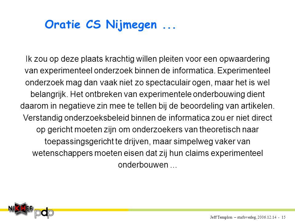Jeff Templon – stafoverleg, 2006.12.14 - 15 Oratie CS Nijmegen...