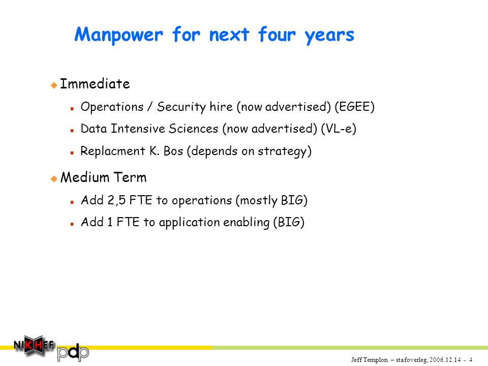 Jeff Templon – stafoverleg, 2006.12.14 - 5 PDP Committments u EGEE-II : grid operations & security middleware 1 apr 2008 n.b.