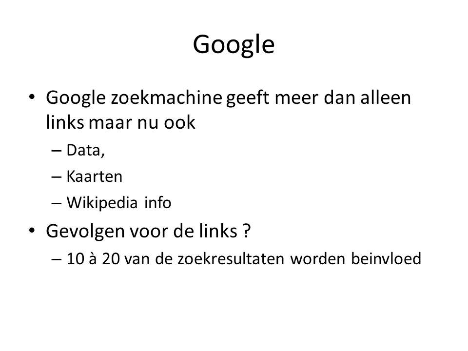 Google Google zoekmachine geeft meer dan alleen links maar nu ook – Data, – Kaarten – Wikipedia info Gevolgen voor de links ? – 10 à 20 van de zoekres