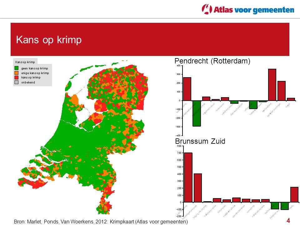 4 Kans op krimp Bron: Marlet, Ponds, Van Woerkens, 2012: Krimpkaart (Atlas voor gemeenten) Pendrecht (Rotterdam) Brunssum Zuid