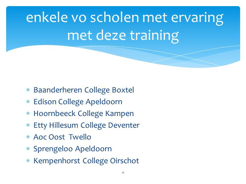  Baanderheren College Boxtel  Edison College Apeldoorn  Hoornbeeck College Kampen  Etty Hillesum College Deventer  Aoc Oost Twello  Sprengeloo A