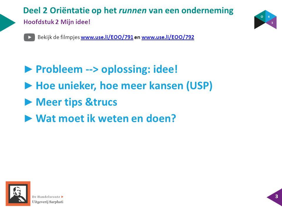 Bekijk de filmpjes www.use.li/EOO/791 en www.use.li/EOO/792www.use.li/EOO/791www.use.li/EOO/792 Deel 2 Oriëntatie op het runnen van een onderneming 3 ► Probleem --> oplossing: idee.