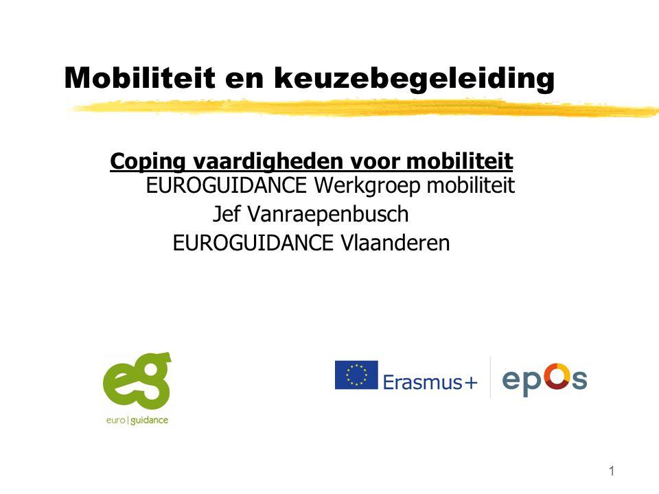 1 Mobiliteit en keuzebegeleiding Coping vaardigheden voor mobiliteit EUROGUIDANCE Werkgroep mobiliteit Jef Vanraepenbusch EUROGUIDANCE Vlaanderen