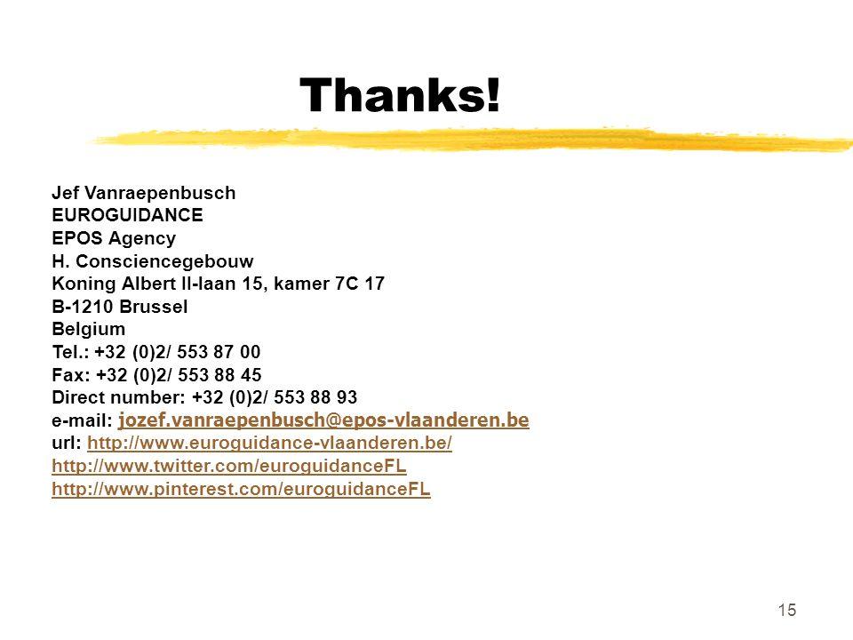 Thanks. Jef Vanraepenbusch EUROGUIDANCE EPOS Agency H.