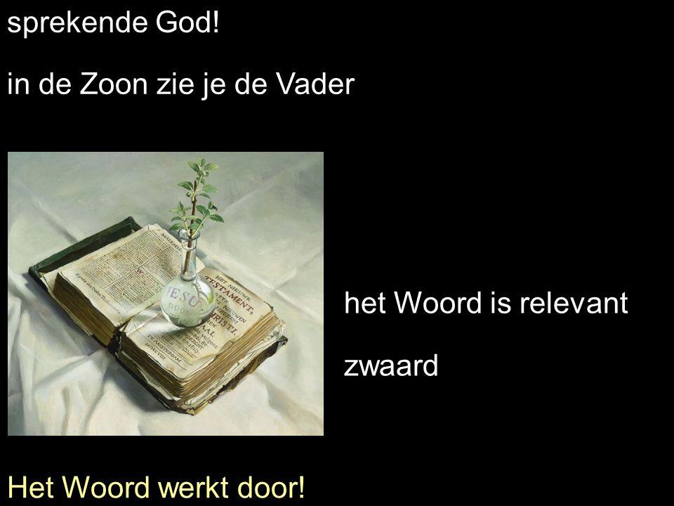 sprekende God! in de Zoon zie je de Vader het Woord is relevant zwaard Het Woord werkt door!