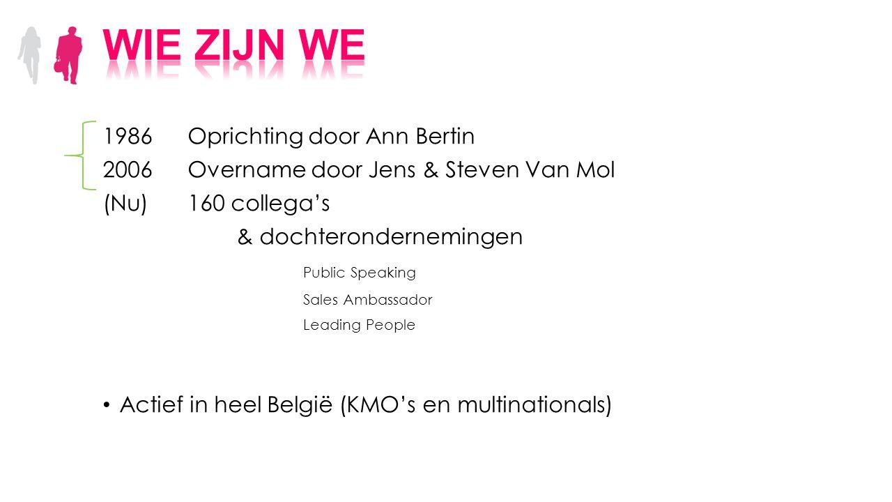 1986 Oprichting door Ann Bertin 2006Overname door Jens & Steven Van Mol (Nu)160 collega's & dochterondernemingen Public Speaking Sales Ambassador Lead