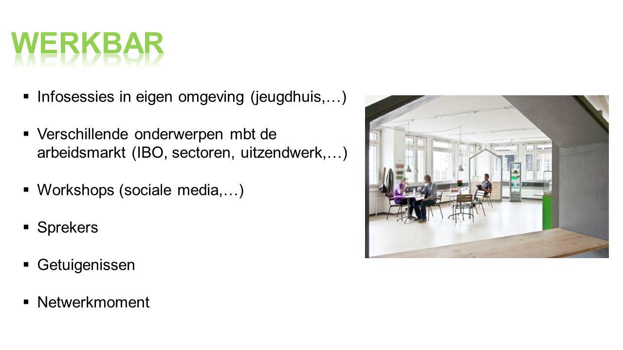  Infosessies in eigen omgeving (jeugdhuis,…)  Verschillende onderwerpen mbt de arbeidsmarkt (IBO, sectoren, uitzendwerk,…)  Workshops (sociale media,…)  Sprekers  Getuigenissen  Netwerkmoment