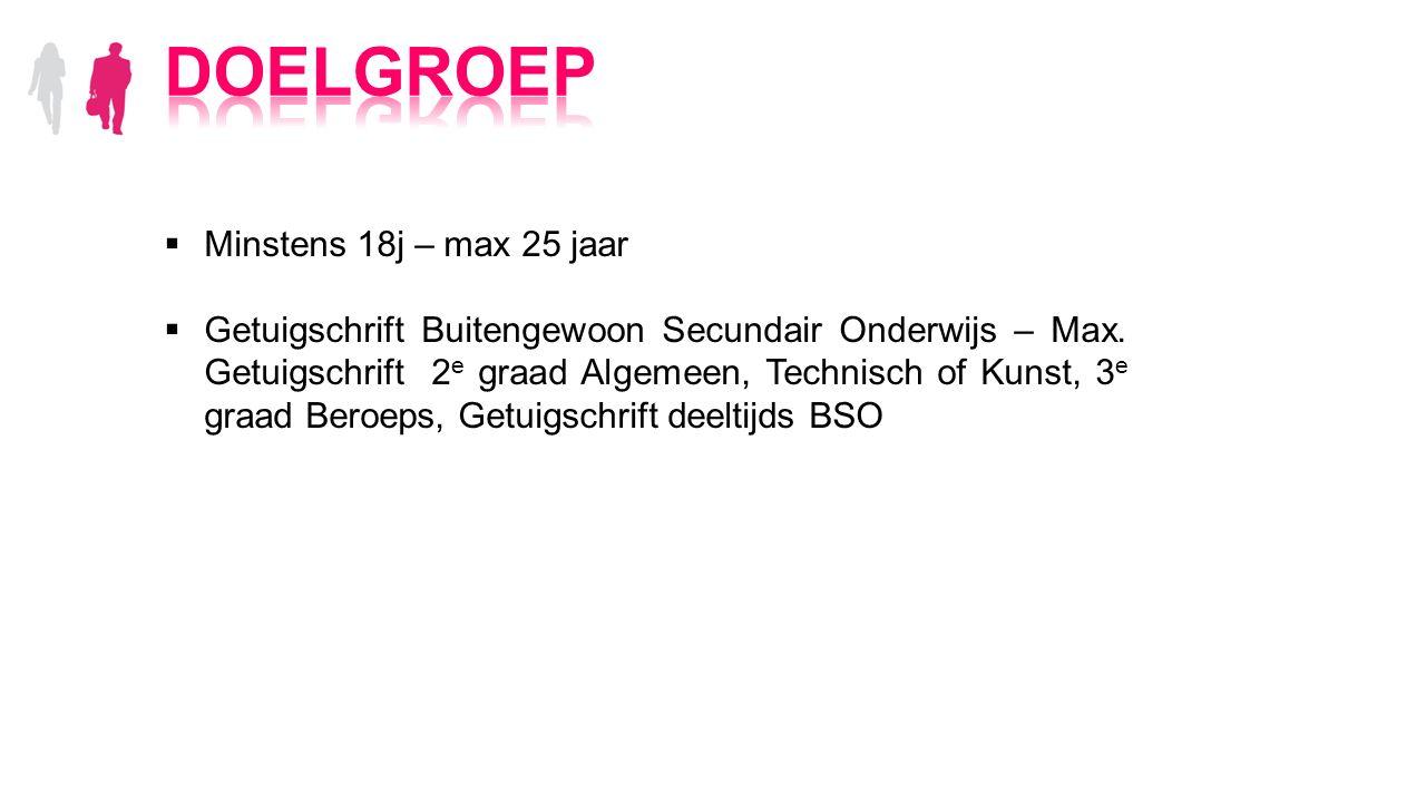  Minstens 18j – max 25 jaar  Getuigschrift Buitengewoon Secundair Onderwijs – Max.