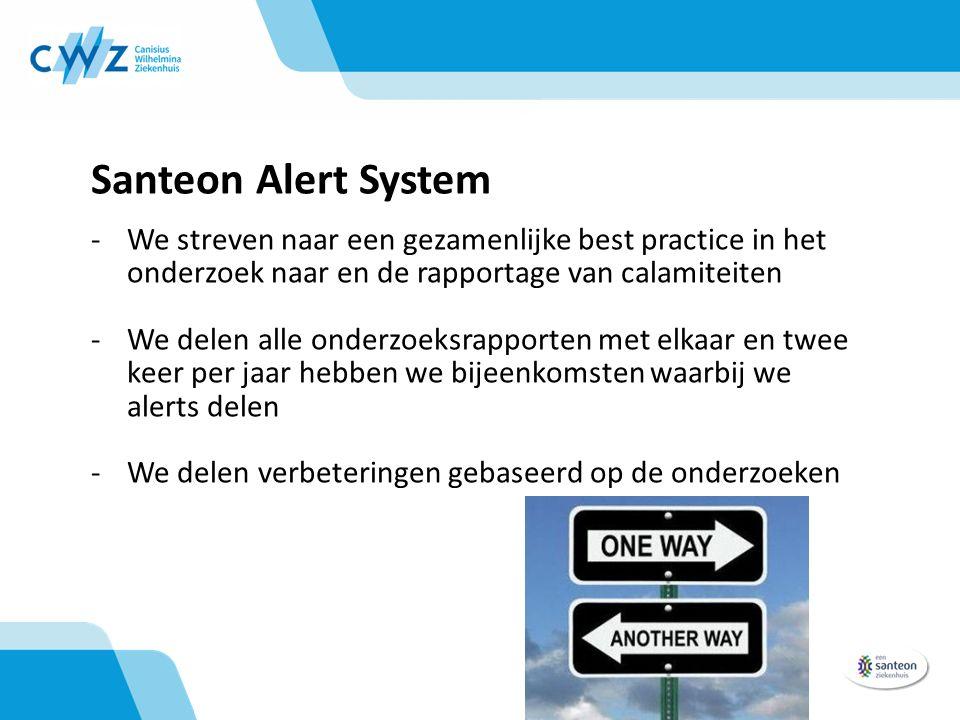 Santeon Alert System -We streven naar een gezamenlijke best practice in het onderzoek naar en de rapportage van calamiteiten -We delen alle onderzoeksrapporten met elkaar en twee keer per jaar hebben we bijeenkomsten waarbij we alerts delen -We delen verbeteringen gebaseerd op de onderzoeken