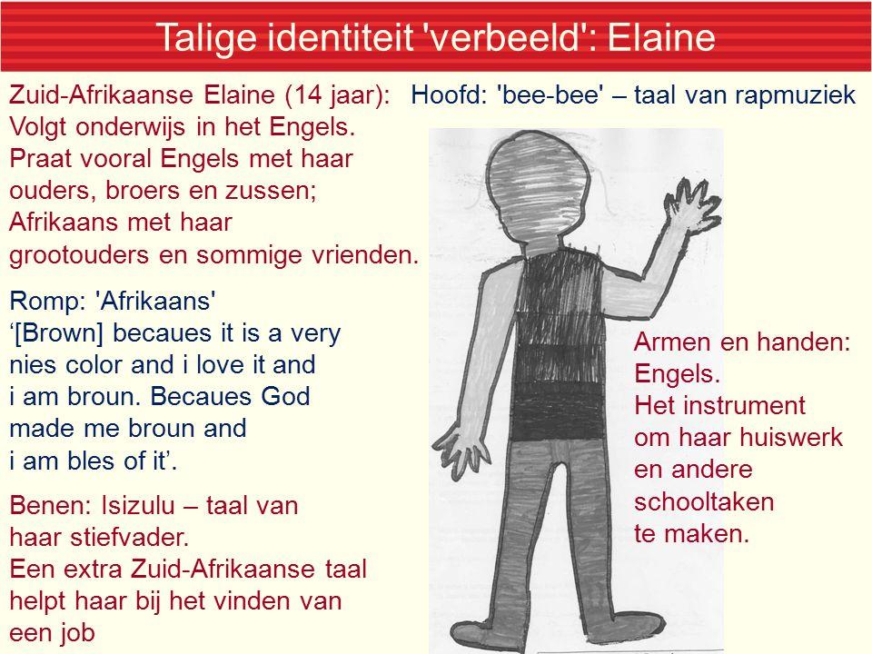 Talige identiteit verbeeld : Elaine Hoofd: bee-bee – taal van rapmuziek Romp: Afrikaans '[Brown] becaues it is a very nies color and i love it and i am broun.