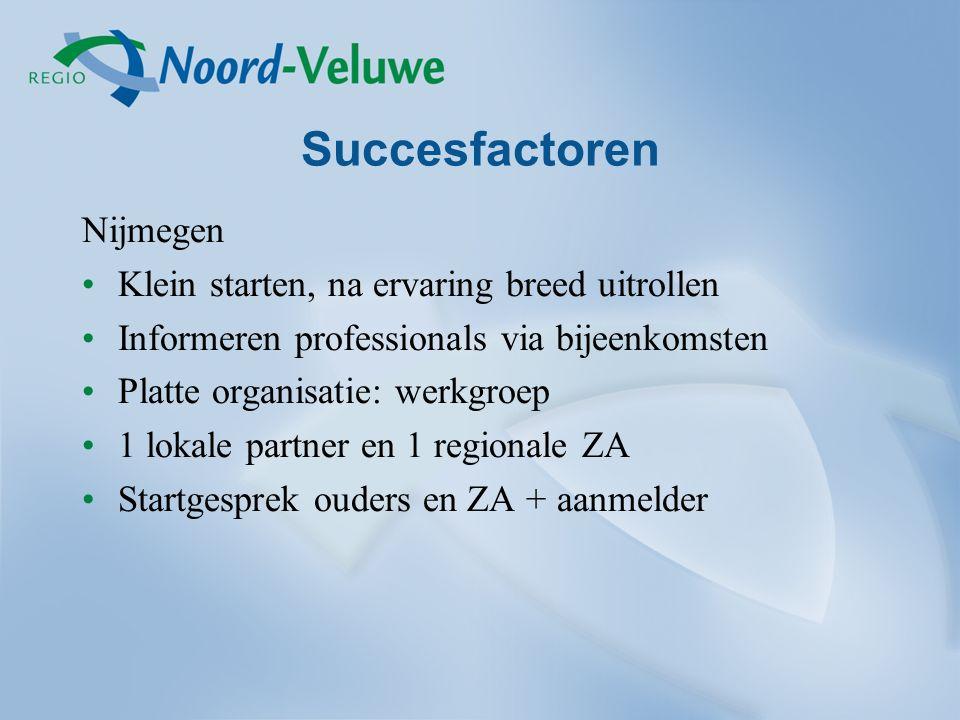 Succesfactoren Nijmegen Klein starten, na ervaring breed uitrollen Informeren professionals via bijeenkomsten Platte organisatie: werkgroep 1 lokale partner en 1 regionale ZA Startgesprek ouders en ZA + aanmelder