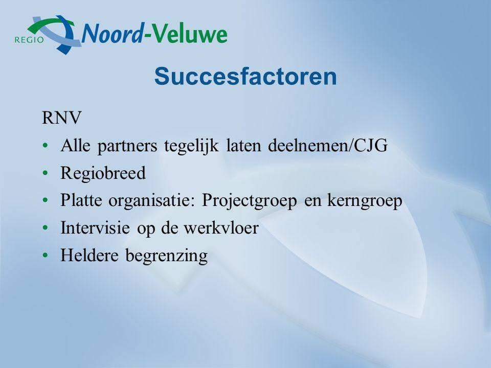 Succesfactoren RNV Alle partners tegelijk laten deelnemen/CJG Regiobreed Platte organisatie: Projectgroep en kerngroep Intervisie op de werkvloer Heldere begrenzing